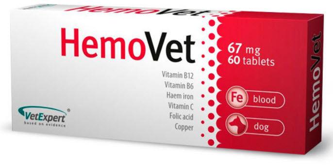 Hemovet 60 tab.dla psów z objawami niedokrwistości