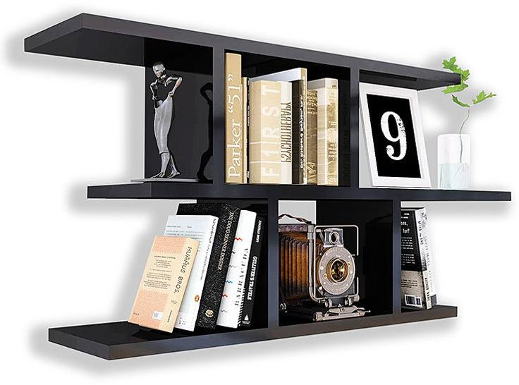Czarna minimalistyczna półka ścienna - Meggi