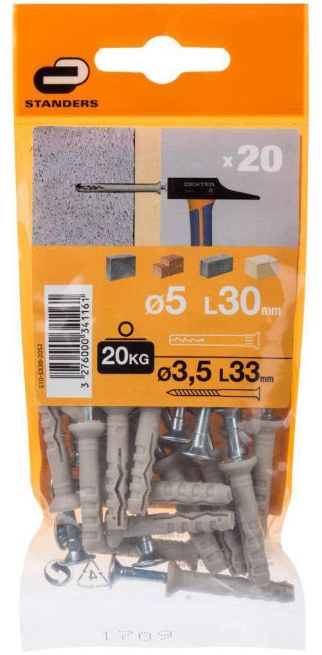 Kołek do szybkiego montażu 5 x 30 mm 20 szt. STANDERS