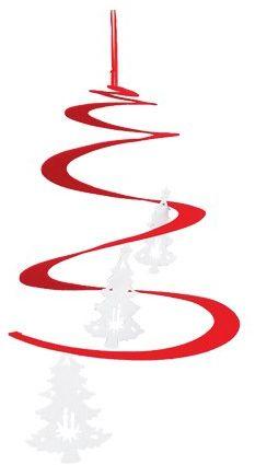 VISCIO Trading Haus & Christmas zawieszka spirala, filc, biały, 0,1 x 0,1 x 35 cm