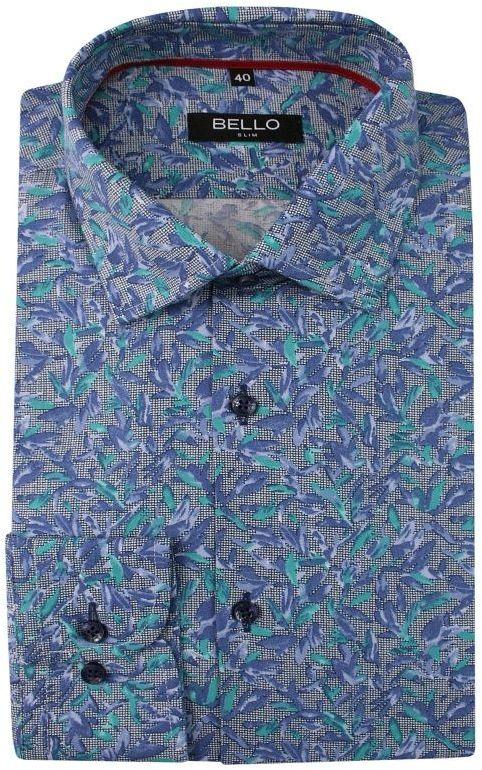 Niebiesko-Szara Koszula Wizytowa, Długi Rękaw -BELLO- Taliowana, Elegancka, w Zielone Kwiatki KSDWBELLOBS054