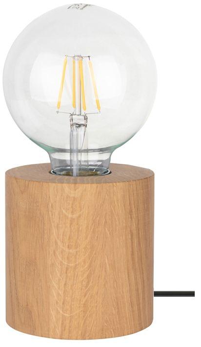 Spot Light 7079174 Trongo Round lampa stołowa walec drewno dąb olejowany/czarny PVC 1xE27 25W 10cm