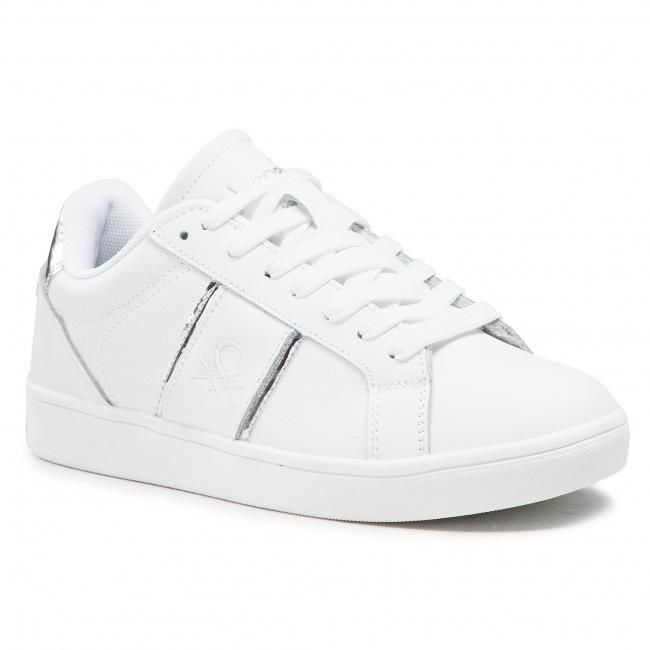 Sneakersy UNITED COLORS OF BENETTON - Walk Lth BTW114010 White/Silver 1040