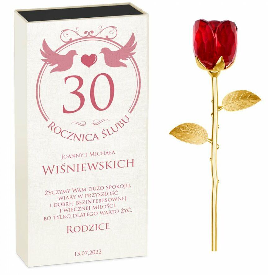 Róża kryształowa w pudełku z nadrukiem dla rodziców na 30 rocznicę
