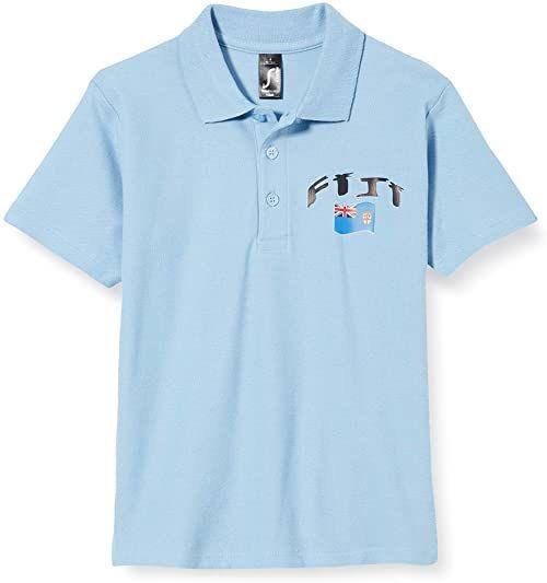 Supportershop Fidji dziecięca koszulka polo Rugby Enfant Fidji Rugby dla dzieci. biały biały FR : M (Taille Fabricant : 6 Jahre)