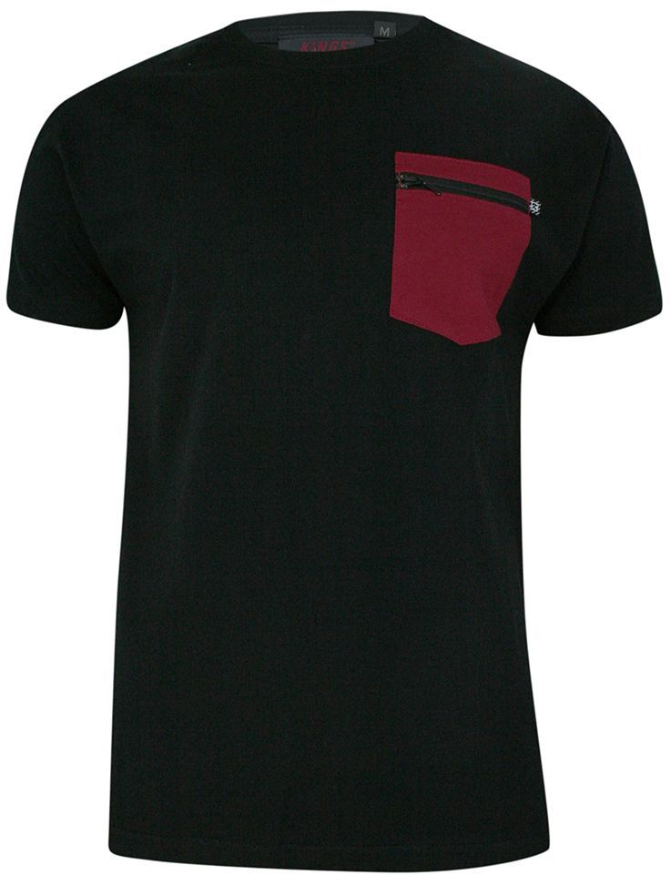 T-shirt, Czarny, 100% BAWEŁNA, U-neck, z Kieszonką, Męski, Krótki Rękaw -KINGS TSKNGS101Zczarny