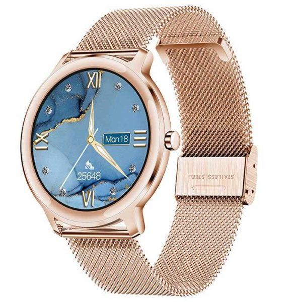 Smartwatch damski Farrot R18 ultracienki mesh puls złoty