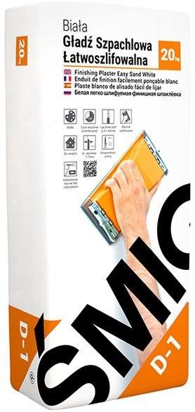 Gładź szpachlowa łatwoszlifowalna Śmig D-1 20 kg biała