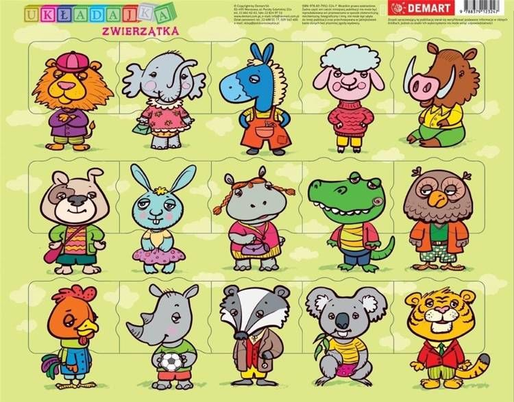 Puzzle ramkowe Zwierzątka