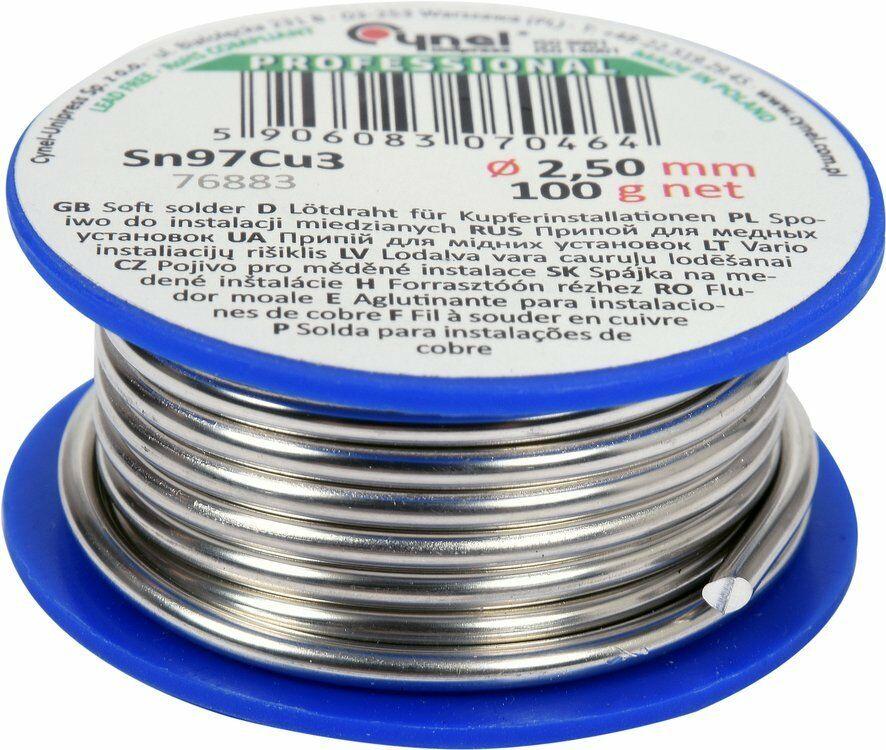 Spoiwo, drut lutowniczy do instalacji miedzianych na szpuli 2,5mm, 100g, Sn97Cu3