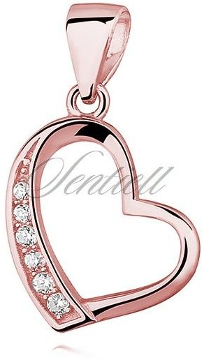 Srebrna pozłacana zawieszka pr.925 serce z cyrkoniami - różowe złoto