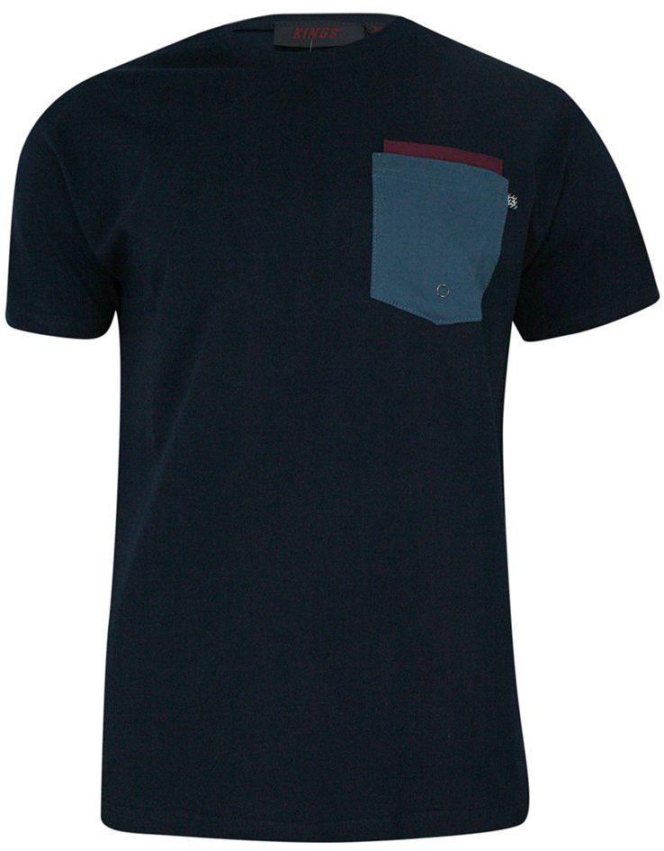 T-shirt, Granatowy, 100% BAWEŁNA, U-neck, z Kieszonką, Męski, Krótki Rękaw -KINGS TSKNGS101KOgranat