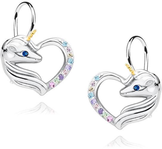 Delikatne wiszące rodowane srebrne kolczyki serca jednorożce unicorn cyrkonie srebro 925 Z1728DGR_MUBL
