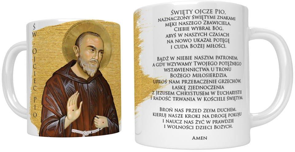 Kubek religijny ze świętym Ojcem Pio