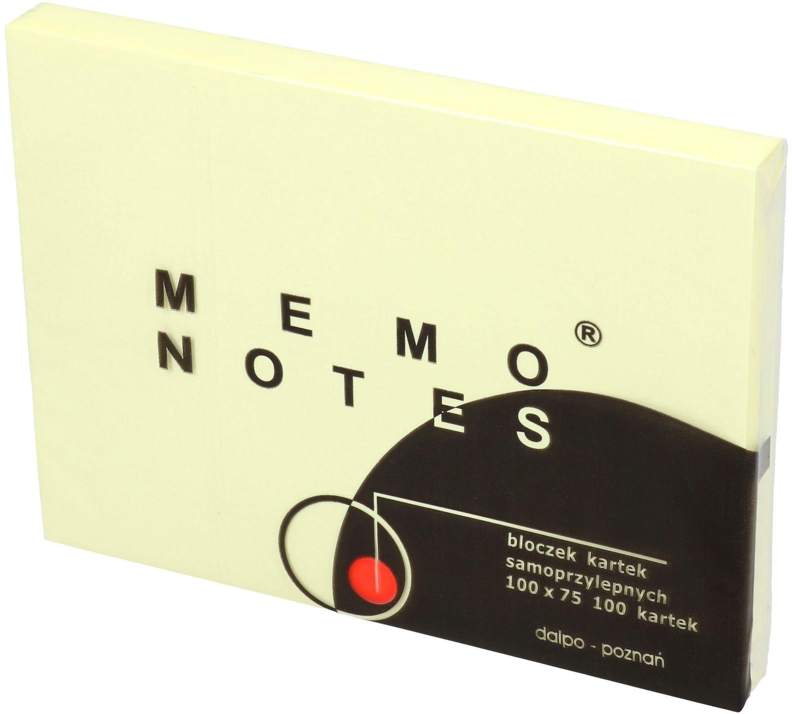 Karteczki samoprzylepne 75x100/100 żółte Dalpo NS100/75