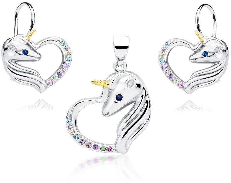 Delikatny rodowany srebrny wiszący komplet serca jednorożce unicorn cyrkonie srebro 925 Z1728DZGR_MUBL