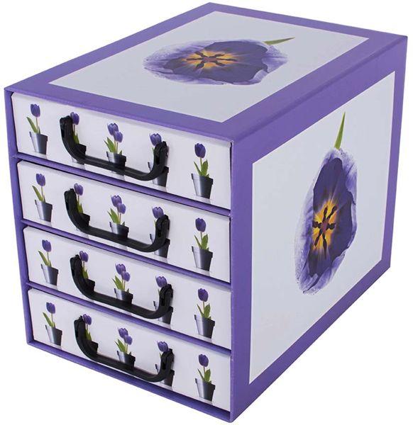 Pudełko kartonowe 4 szuflady pionowe DONICZKI TULIPANY