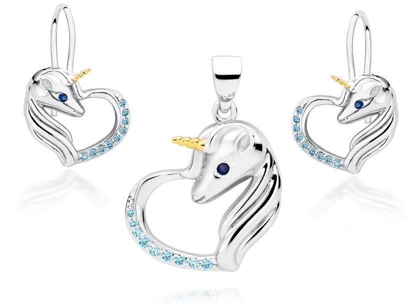 Delikatny rodowany srebrny wiszący komplet serca jednorożce unicorn cyrkonie srebro 925 Z1728DZGR_AQBL