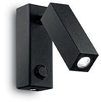 Kinkiet Page Square AP1 142241 Ideal Lux czarna oprawa w nowoczesnym stylu