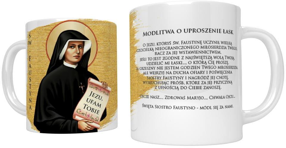 Kubek religijny ze świętą Faustyną