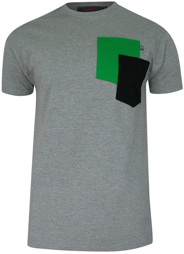 T-shirt, Szary, BAWEŁNA, U-neck, z Kieszonką, Męski, Krótki Rękaw -KINGS TSKNGS101KKszary