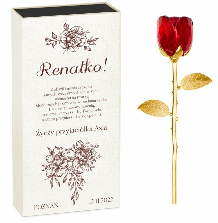 Róża kryształowa w pudełku z nadrukiem dla przyjaciółki na imieniny