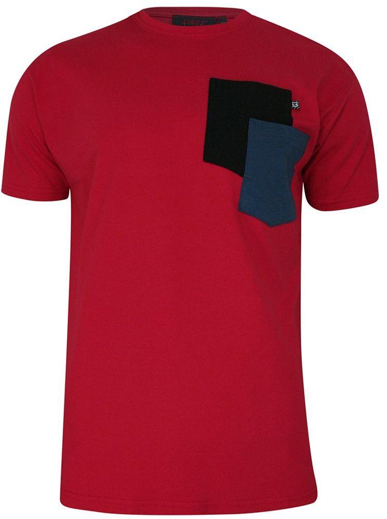 T-shirt, Czerwony, 100% BAWEŁNA, U-neck, z Kieszonką, Męski, Krótki Rękaw -KINGS TSKNGS101KKczerw
