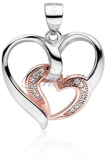 Srebrna zawieszka pr.925 serce z mniejszym pozłacanym różowym złotem sercem z cyrkoniami