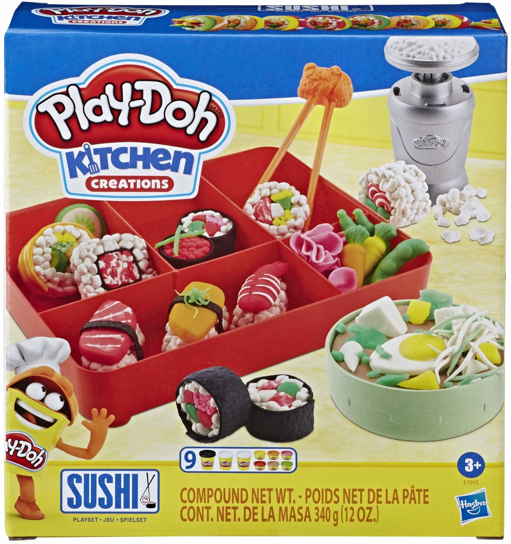 Zestaw do zabawy Kitchen Creations Play-Doh Sushi, dla dzieci w wieku od 3 lat, z pudełkiem bento, 9 tub z nietoksyczną ciastoliną Play-Doh