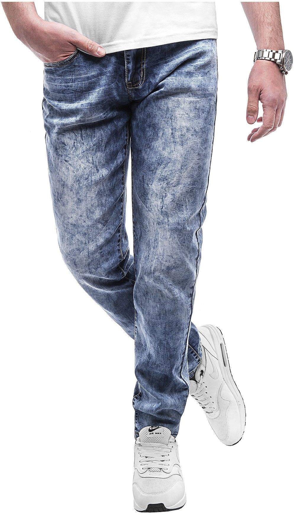 Spodnie jeansowe męskie - niebieskie 2055