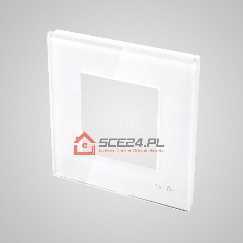 Ramka 1-krotna (86x86mm) szklana, biała