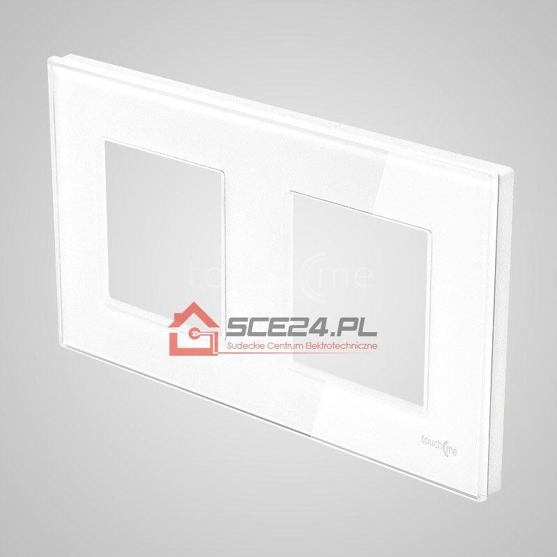 Ramka 2-krotna (86x158mm) szklana, biała
