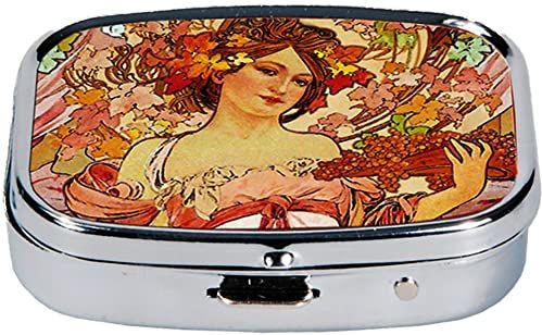 Fridolin Pojemnik na tabletki Art Nouveau-Louise z metalu, kolorowy, 5,1 x 3,6 x 1,8 cm