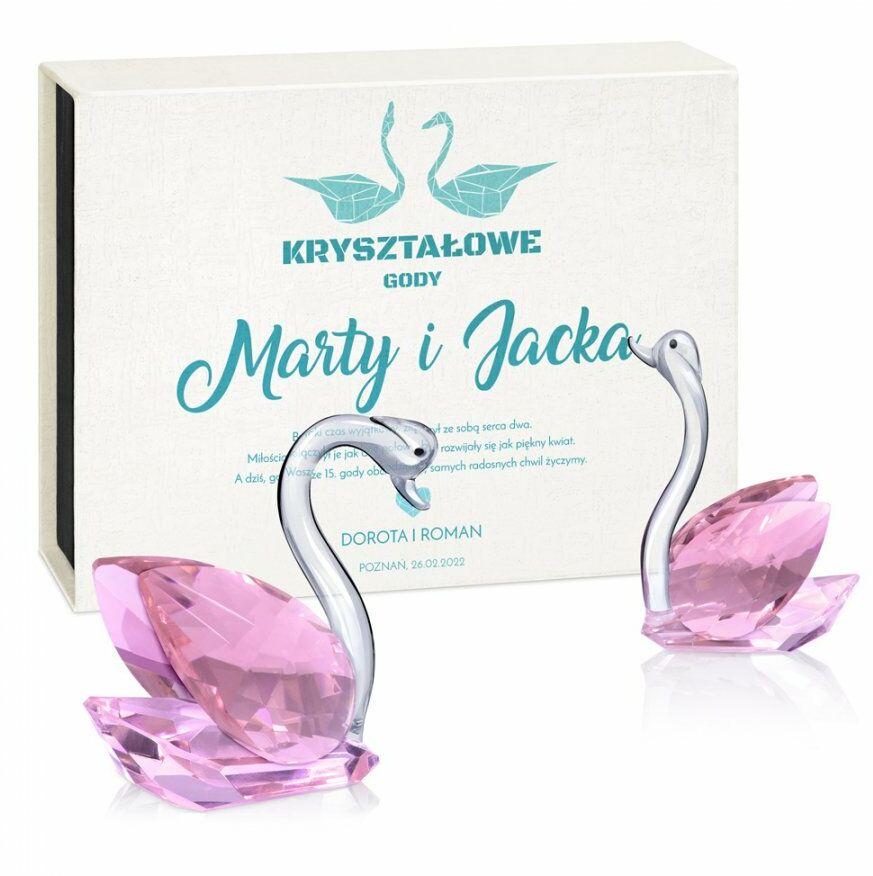 Łabędzie kryształowe w pudełku z nadrukiem dla pary na 15 rocznicę