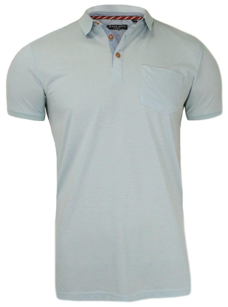 Błękitna Koszulka Polo, Bez Nadruku - Brave Soul, Męska TSBRSSS18JULIUSHblue