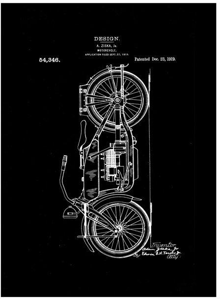 Patent motocykl projekt 1919 - retro plakat wymiar do wyboru: 30x45 cm