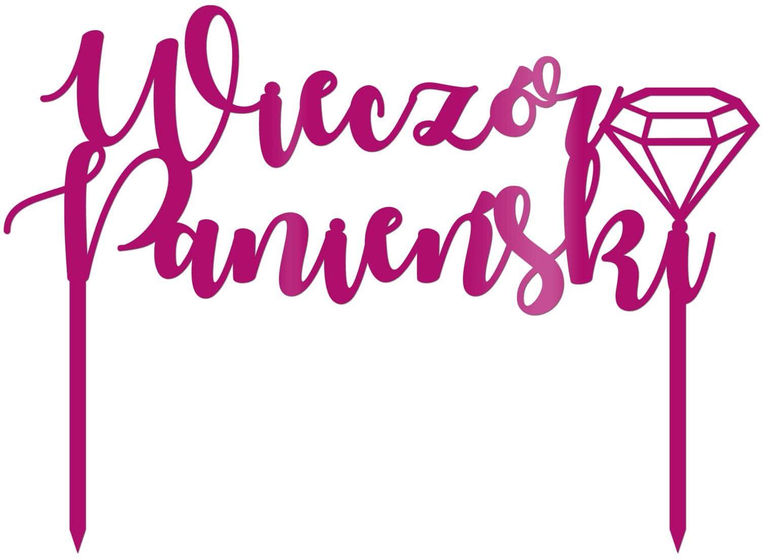 Topper z pleksi różowy na tort Wieczór Panieński - 20 cm