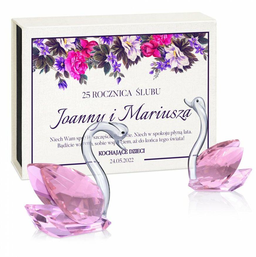 Łabędzie kryształowe w pudełku z nadrukiem dla pary na 25 rocznicę śl