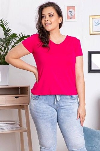 Bluzka dzianinowa EDNA gładki t-shirt amarant