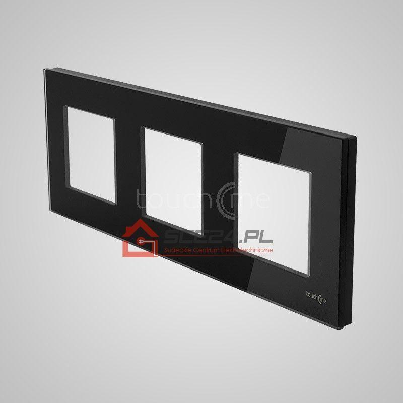 Ramka 3-krotna (86x228mm) szklana, czarna