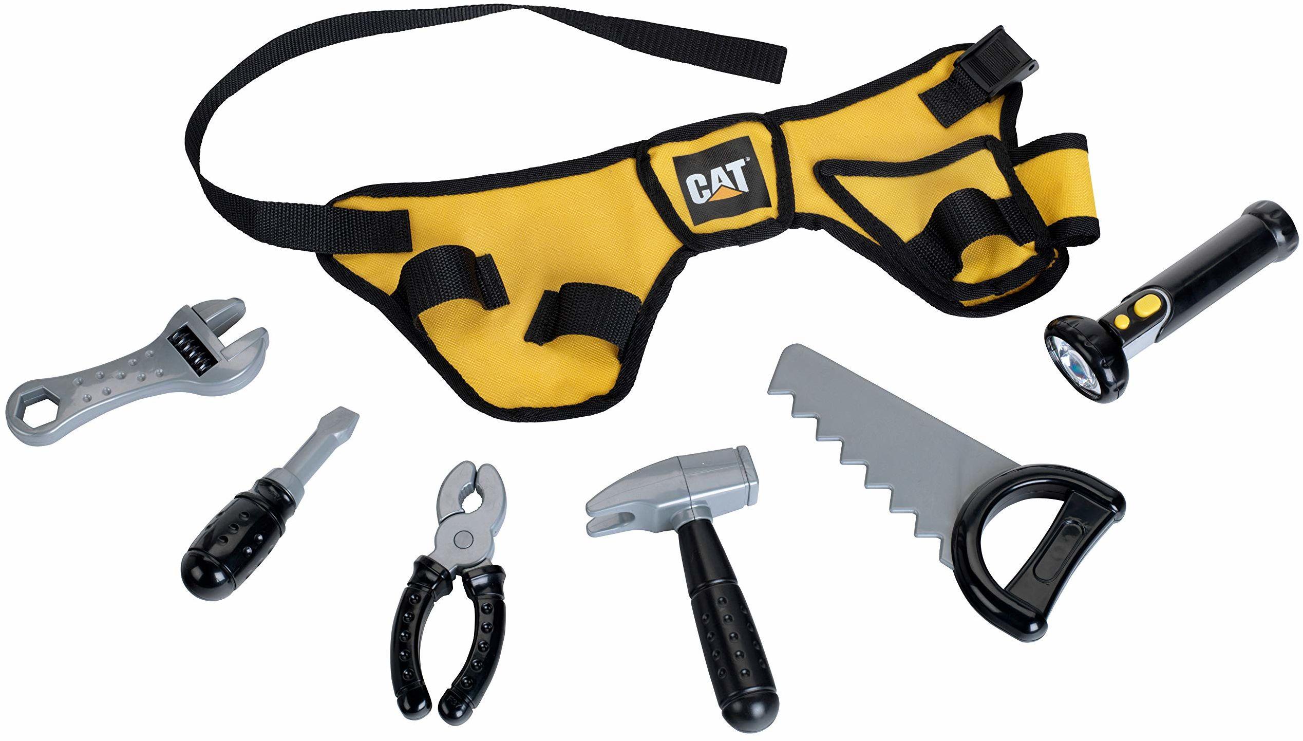 Theo Klein 3222 CAT pasek narzędziowy z latarką na baterie, 7-częściowy, zabawka, wielokolorowy