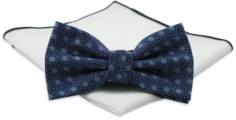 Granatowa Mucha w Niebieskie Kółka, Koła z Białą Poszetką -CHATTIER- Męska, Wzór Geometryczny MUCH0548