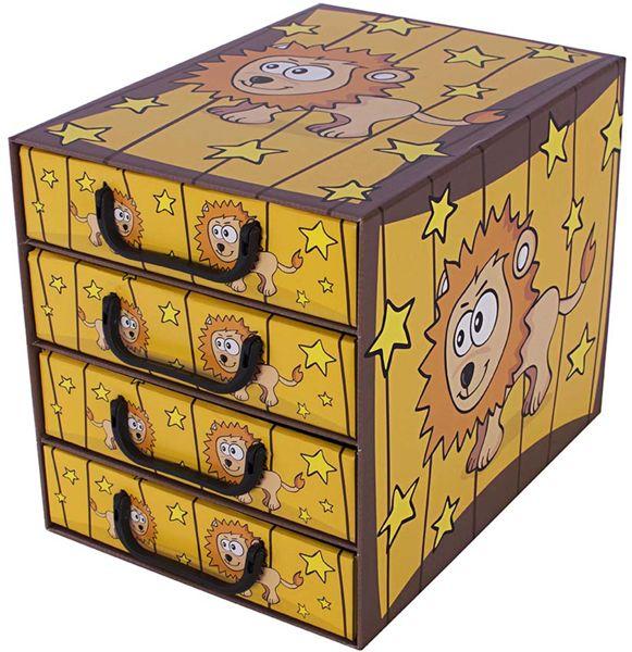 Pudełko kartonowe 4 szuflady pionowe SAWANNA LEW