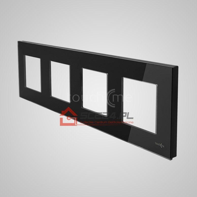 Ramka 4-krotna (86x299mm) szklana, czarna