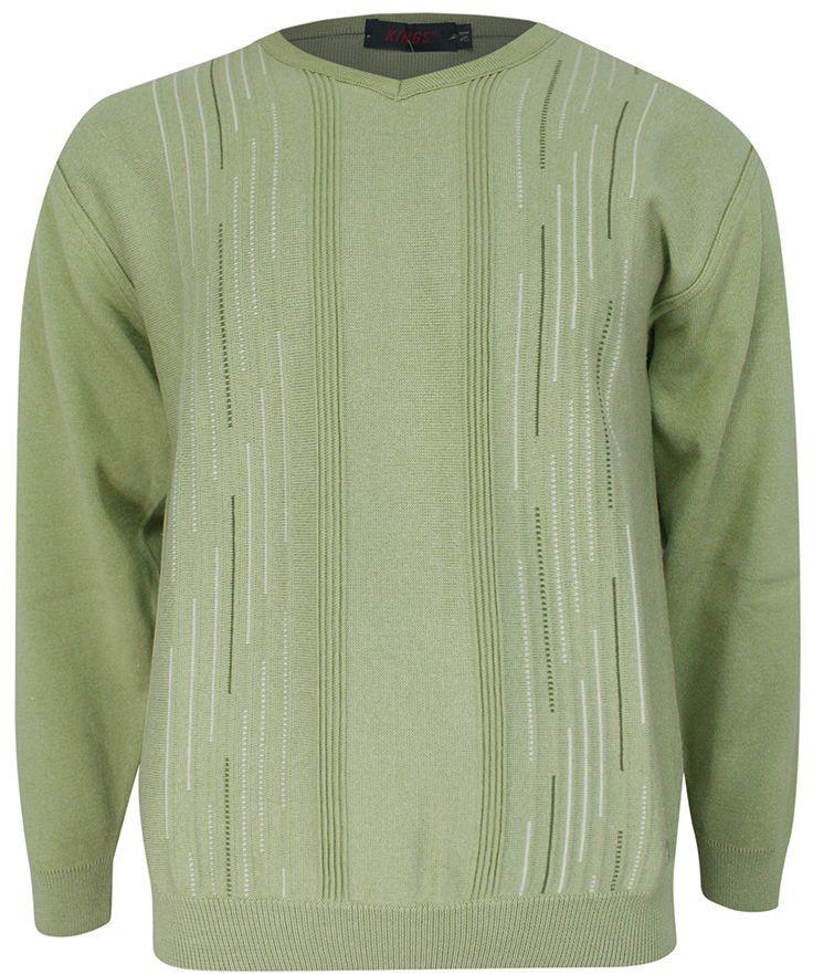 Sweter Męski, Jasny Zielony w Serek -KINGS- Dekolt V-Neck, Tłoczony Wzór, Klasyczny SWKNGS658106jzielen