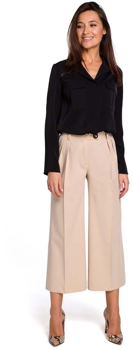 Beżowe eleganckie spodnie kuloty w kant