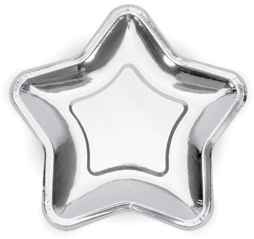 Talerzyki papierowe Gwiazdka srebrne metalizowane 18cm 6 sztuk TPP11-018