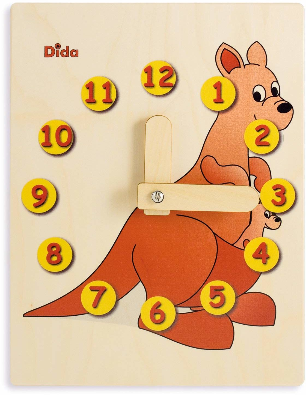 Dida - Zegarek do nauki dla dzieci - kangura - zabawny zegar do nauki dzieci, z drewna, do przedszkola, szkoły i domu