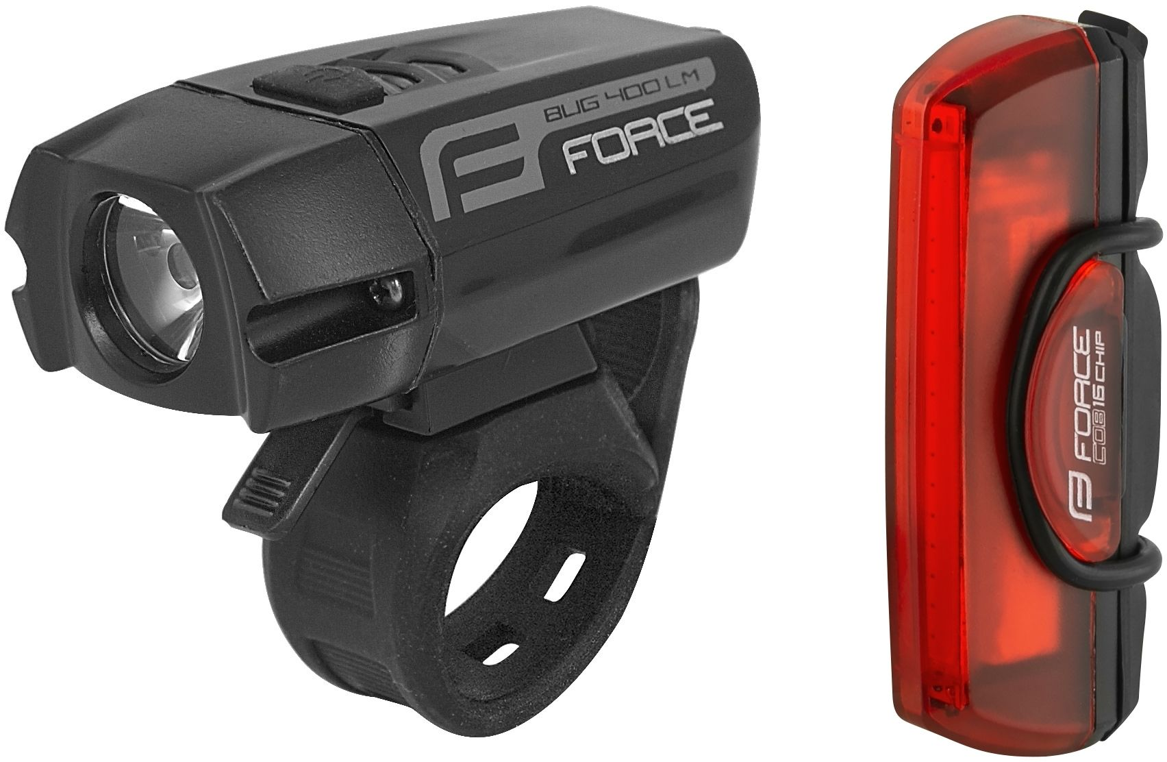 FORCE zestaw lampek rowerowych GLARE USB black 454078,8592627116476