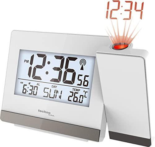 technoline Radiowy budzik z projektorem, biały, 15 cm x 9 cm x 1,5 cm